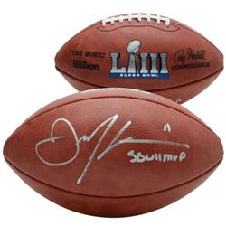"Julian Edelman Signed ""The Duke"" Official Super Bowl LIII Logo NFL Game Ball Inscribed ""SB LIII MVP"""