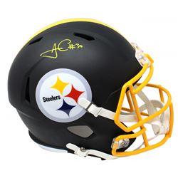 James Conner Signed Pittsburgh Steelers Matte Black Full-Size Speed Helmet (Schwartz Sports COA)