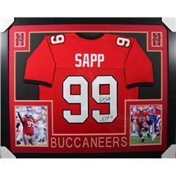Warren Sapp Signed 35x43 Custom Framed Jersey (JSA COA)