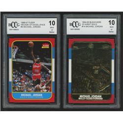 Lot of (2) Beckett Graded 10 1996-97 Fleer Decade of Excellence #4 Michael Jordan  1994-00 Bleachers
