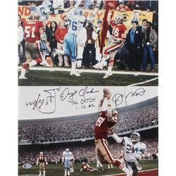 "Joe Montana  Dwight Clark Signed San Francisco 49ers 16x20 Photo Inscribed ""The Catch""  ""1.10.82"" wi"