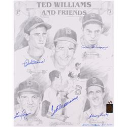 """Red Sox LE """"Ted Williams and Friends"""" 16x20 Lithograph Signed by (5) with Ted Williams, Bobby Doerr,"""