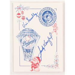 Sandy Koufax  Vin Scully Signed 1955 World Champion Brooklyn Dodgers 5x7 Christmas Card (PSA LOA)