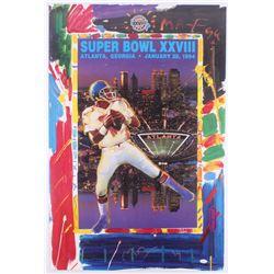 """Peter Max Signed """"Super Bowl XXVIII"""" 24x36 Poster (JSA COA)"""