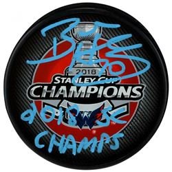 """Braden Holtby Signed 2018 Stanley Cup Champions Logo Hockey Puck Inscribed """"2018 SC Champs"""" (Fanatic"""