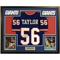 Lawrence Taylor Signed 35x43 Custom Framed Jersey (JSA COA)