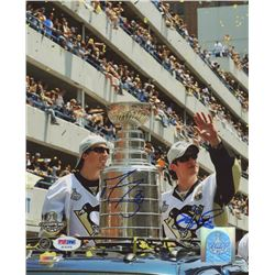 Marc-Andre Fleury  Sidney Crosby Signed Pittsburgh Penguins 8x10 Photo (PSA COA)