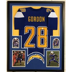 Melvin Gordon Signed 34x42 Custom Framed Jersey (JSA COA)