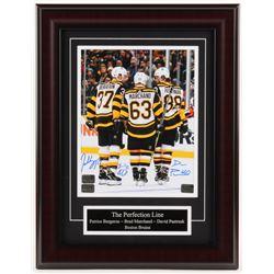 Brad Marchand, David Pastrnak,  Patrice Bergeron Signed Boston Bruins 13.75x17.75 Custom Framed Phot