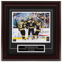 Brad Marchand, David Pastrnak,  Patrice Bergeron Signed Boston Bruins 16x16 Custom Framed Photo Disp