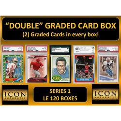 "ICON AUTHENTIC  ""DOUBLE"" GRADED CARD BOX (2) CARDS PER BOX! SERIES 1 (Guaranteed 2 Cards per Box"