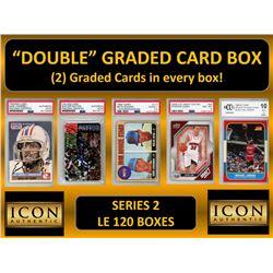 "ICON AUTHENTIC  ""DOUBLE"" GRADED CARD BOX (2) CARDS PER BOX! SERIES 2  (Guaranteed 2 Cards per Bo"