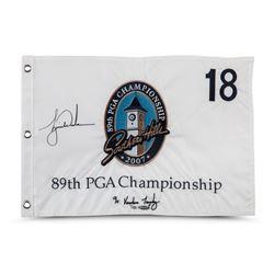 Tiger Woods Signed Limited Edition 2007 PGA Championship Pin Flag (UDA COA)