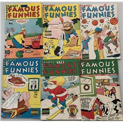 """Lot of (6) 1948-1949 """"Famous Funnies"""" Comic Books with #166, #168  #171-174"""