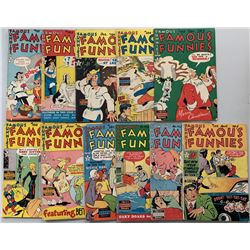 """Lot of (11) 1949-1950 """"Famous Funnies"""" Comic Books with #181-186, #188-190  #192-193"""