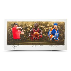 "Wayne Gretzky, Michael Jordan  Tiger Woods Signed Limited Edition ""Icons of Sport"" 24x48 Print (UDA"