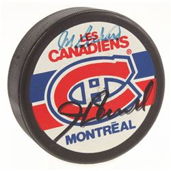 Maurice Richard  Henri Richard Signed Montreal Canadiens Logo Hockey Puck (JSA LOA)