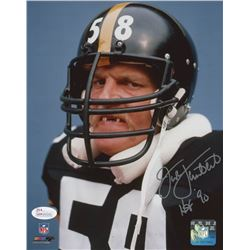 "Jack Lambert Signed Pittsburgh Steelers 8x10 Photo Inscribed ""HOF '90"" (JSA COA)"