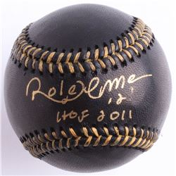"Roberto Alomar Signed Black Leather OML Baseball Inscribed ""HOF 2011"" (JSA COA)"
