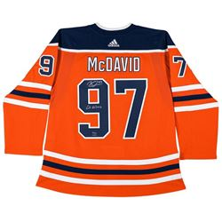 "Connor McDavid Signed Limited Edition Edmonton Oilers Jersey Inscribed ""Go Oilers"" (UDA COA)"