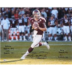 Johnny Manziel Signed Texas AM Aggies 16x20 Photo with Multiple Inscriptions (Beckett COA)