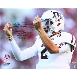 "Johnny Manziel Signed Texas AM Aggies 16x20 Photo Inscribed ""Rolled The Tide In Bama"", ""29-24""  ""11/"