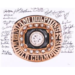 1972 Miami Dolphins Super Bowl Ring 16x20 Photo Signed by (27) with Bob Griese, Larry Csonka, Larry