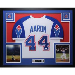 Hank Aaron Signed 35x43 Custom Framed Jersey Display (JSA COA)