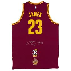 """LeBron James Signed Cleveland Cavaliers """"3x MVP""""  """"16 Finals"""" Patch Jersey (UDA COA)"""