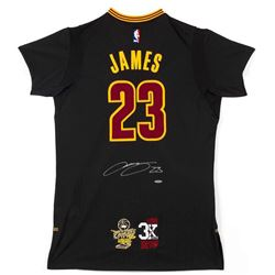 """LeBron James Signed Cleveland Cavaliers Adidas """"3x MVP""""  """"16 Finals"""" Patch Pride Jersey (UDA COA)"""