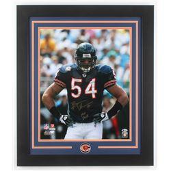 """Brian Urlacher Signed Chicago Bears 23.5x27.5 Custom Framed Photo Inscribed """"HOF 2018"""" (Beckett COA)"""