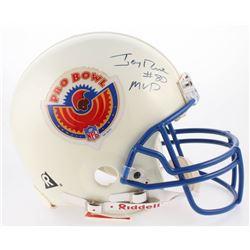 "Jerry Rice Signed 1996 Pro Bowl Logo Full-Size Authentic On-Field Helmet Inscribed ""MVP"" (JSA COA)"