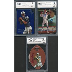 Lot of (3) BCCG Graded 9 Peyton Manning Football Cards with 1998 Absolute Draft Picks Blue Die Cuts