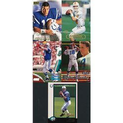 Lot of (5) 1998 Peyton Manning Football Cards with 1998 Stadium Club #195 RC, 1998 Bowman #1 RC