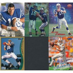 Lot of (5) 1998 Peyton Manning Baseball Cards with 1998 Ultra #201 RC, 1998 Topps Stars #67 Peyton M