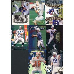 Lot of (8) 1998 Peyton Manning Football Cards with 1998 Pacific #181 RC, 1998 Pacific Omega #101 RC