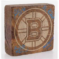 "Brad Marchand, Patrice Bergeron  David Pastrnak Signed Boston Bruins Wood Block Inscribed ""Perfectio"