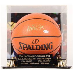 Magic Johnson Signed NBA Game Ball Series Basketball With High Quality Display Case (Beckett COA)