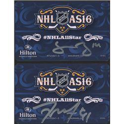 Jamie Benn  Tyler Seguin Signed 2016 NHL All-Star Game Hilton Nashville Room Key (Benn COA  Seguin C