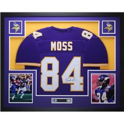 Randy Moss Signed 35x43 Custom Framed Jersey (JSA COA)