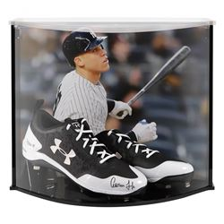 Aaron Judge Signed Under Armor Cleats with Custom Acrylic Curve Display Case (Fanatics Hologram)