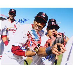 Michael Wacha, Oscar Taveras  Kolten Wong Signed Springfield Cardinals 11x14 Photo (JSA COA)