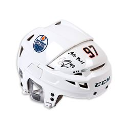 "Connor McDavid Signed Edmonton Oilers Full Size Limited Edition Helmet Inscribed ""Art Ross"" (UDA COA"