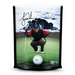 "Tiger Woods Signed ""Pebble Beach Hole No. 7"" 8.5x11x3.5 Curve Display with Range Driven Ball (UDA CO"