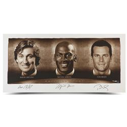 "Wayne Gretzky, Michael Jordan  Tom Brady Signed ""Faces of Sports"" 24x48 Limited Edition Photo (UDA C"