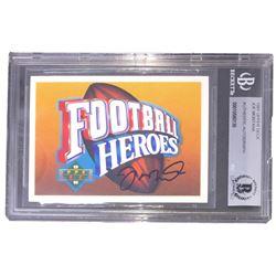 Joe Montana Signed 1991 Upper Deck Football Heros (BGS Encapsulated)