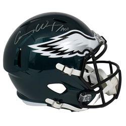 "Carson Wentz Signed Philadelphia Eagles Full-Size Speed Helmet Inscribed ""AO1"" (Fanatics Hologram)"