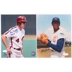 Lot of (2) Baseball 8x10 Photos with Lenny Dykstra,  Fergie Jenkins (JSA COA)