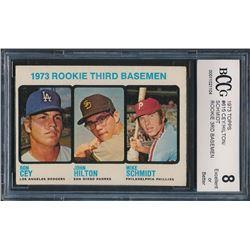 1973 Topps #615 Rookie Third Basemen Ron Cey / John Hilton RC / Mike Schmidt RC (BCCG 8)