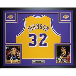 Magic Johnson Signed 35x43 Custom Framed Jersey (Beckett COA)